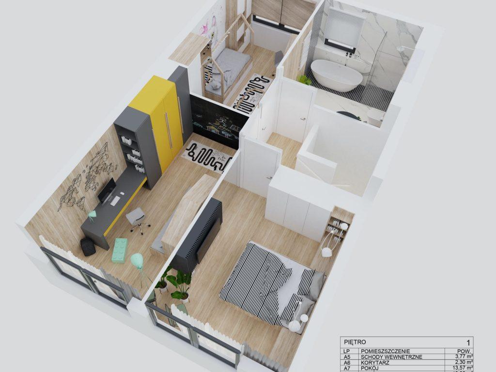 Osiedle PodLipami wKleszczewie - etap III - rzut 3D - piętro